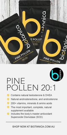 💪🌿 BOOST MODE 🌿💪 🧘♀️ Plant Based Superfoods and Herbs 🏋️ Proteins, BCAA's, Shrooms, Androgens & Adaptogens 🌎 Worldwide Shipping - A massively potent, 20:1 extract, with 98% cracked wall pine pollen, providing numerous benefits to health and libido. #boostmode #pinepollen #superfood #biotanica