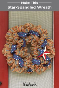 Greet your guests in patriotic style with this star-spangled mesh wreath. Red, white & blue ribbon and a rustic tin star make this festive wreath a perfect adornment for your home.