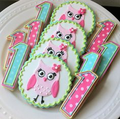 Girly Pink Owl Decorated Cookies and Number by peapodscookies, $44.00