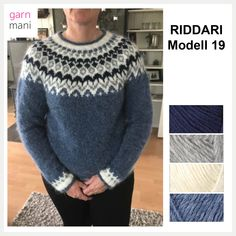 Fair Isle Knitting Patterns, Fair Isle Pattern, Icelandic Sweaters, Crochet Wool, Blue Sweaters, Grey And White, Hand Knitting, Men Sweater, How To Make
