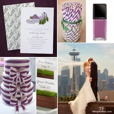 Pantone Radiant Orchid wedding inspiration board with homage to Seattle #radiantorchid #pantoneweddings