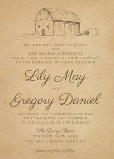 Rustic Farm Wedding Invitations   The Dairy Barn   Invitation Suite,  Rustic, Vintage,