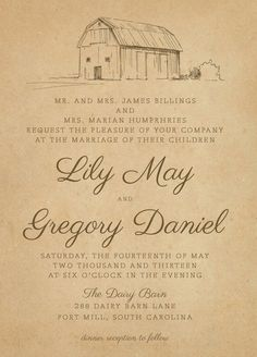 Rustic Farm Wedding Invitations - The Dairy Barn - invitation suite, rustic, vintage, RSVP cards, barn, farm