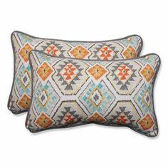 Pillow Perfect Outdoor/ Indoor Eresha Oasis Rectangular Throw Pillow (Set of 2), Multicolor