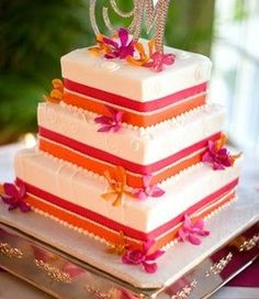 Orange/Hot Pink  #Wedding Cake ... Wedding ideas for brides, grooms, parents & planners ... https://itunes.apple.com/us/app/the-gold-wedding-planner/id498112599?ls=1=8 … plus how to organise an entire wedding, without overspending ♥ The Gold Wedding Planner iPhone App ♥