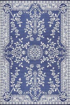 Mad Mats Oriental Garland Blue and White Rug
