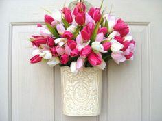 Spring Wreath  Easter Wreath  Tulip Wreath  by AWorkofHeartSA, $55.00