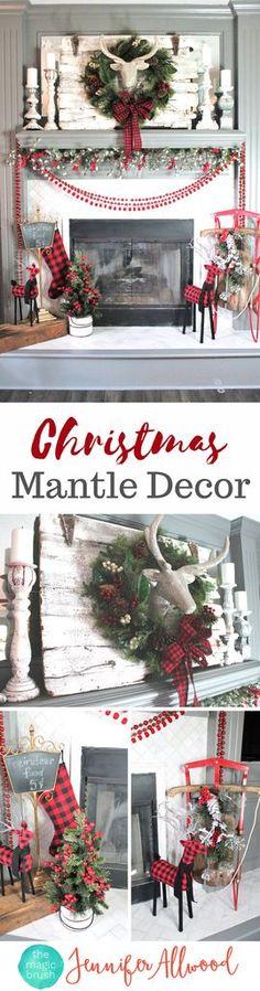 Christmas Mantle Decorations and Ideas   Magic Brush   Christmas Decor Ideas   Christmas Decorations with Glitter Dear Head and Christmas Tartan & Buffalo Check
