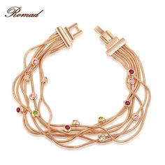 Romad Bracelet For Women Rose Gold Color Multi-layer Bracelet Chain Women Bangle Body Jewelry Party Wedding Mother's Day Gift
