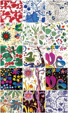 "One of the first ""new"" textile designers I discovered on our trip was Josef Frank. I use the word new loosely as Josef Frank is wildly popular in the textile design world, b… Textiles, Textile Patterns, Textile Design, Fabric Design, Print Patterns, Josef Frank, Poster Mural, Swedish Design, Nordic Design"
