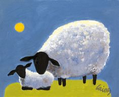 Sheep Drawing, Sheep Illustration, Sheep Paintings, Cartoon Cow, Sheep Art, Cute Sheep, Italy Art, Sheep And Lamb, Naive Art