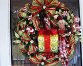 Lite Up Christmas Elf Wreath