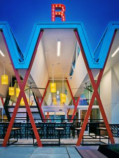 "Torchy's Taco Shop by Chioco. ""Chioco Design set out to create a building able to respect its iconic setting, allude to its historic roots and fulfil the needs of a modern restaurant,"" the architects said."