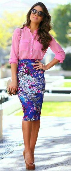 Multicolor Floral Print Elastic Waist Fashion Skirt