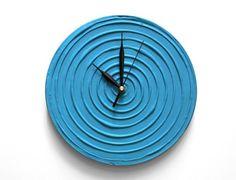 BLUE WALL CLOCK, Blue Clock, Blue Home Decor, Blue Wall Decor, Modern Wall Clock, Unique Wall Clock