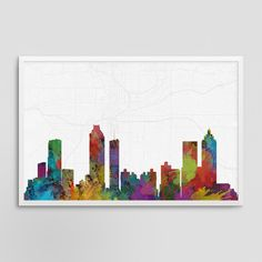 Atlanta Georgia Cityscape and Street Map Watercolor by JurqStudio