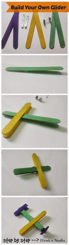 Popsicle stick craft Glider step by step Kids craft using ice cream sticks. Make an aeroplane with recyclable material. Vbs Crafts, Fun Crafts For Kids, Toddler Crafts, Projects For Kids, Arts And Crafts, Simple Crafts, Summer Crafts, Art Projects, Popsicle Stick Crafts
