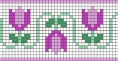 Small flower chain chart for cross stitch, knitting, knotting, beading, weaving, pixel art, and other crafting projects.