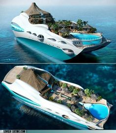 Private Yacht as Tropical Island Paradise. So you already have your own private tropical island and giant sized personal luxury yacht, ok. Dream Vacations, Vacation Spots, Places To Travel, Places To See, Floating House, Floating Island, Luxury Yachts, Luxury Boats, Beautiful Places