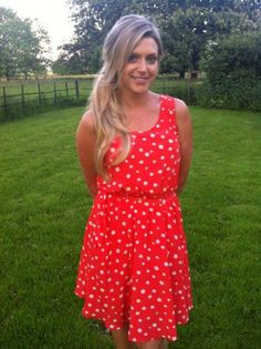 Anna Williamson (This Morning, Baftas Interviewer, Daybreak presenter)  Wearing our cute Ladybird Print Dress, costing £35.00.     http://www.pussycatlondon.com/coral-dress-with-white-polka-dots-ladybirds-1.html?color=Coral=8