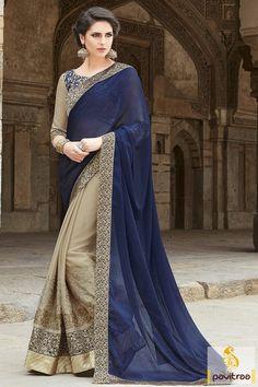 Cobalt Blue and Grey Color Chiffon Party Wear Saree #designersarees, #partywearsarees, #beautifulsarees, #weddingsaree more : http://www.pavitraa.in/catalogs/most-beautiful-designer-sarees-for-marriage-online/?utm_source=mk&utm_medium=pinterestpost&utm_campaign=25July