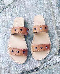 Handmade Leather Sandals, Greek Leather Sandals, Strappy Sandals, Slide Sandals, Eye decorated Sandals, Boho Sandals, Women Slides #etsy #shoes #women #strappysandals #ancientgreekstyle #slidesandals #handmadesandals #bohosandals #leathersandals