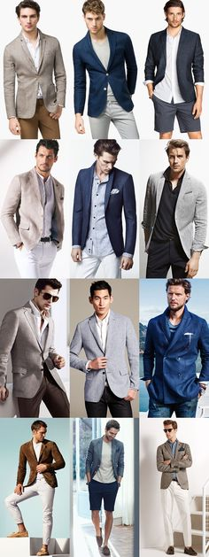 Adding Texture To Your Men's Spring/Summer Looks: Blazers of Seersucker, Linen, Chambray, or Knitted Outfit Lookbook Inspiration