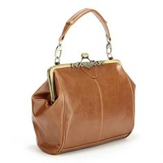 Retro Brown Metal PU Leather Crossbody Handbag Shoulder Bag - US$16.01