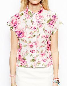 Image 3 ofFashion Union Boxy Shirt In Rose Print maybe sew something like this?