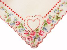 Vintage Valentine Hankie with Hearts, Roses, Forget Me Nots and Scalloped Border,  All cotton!