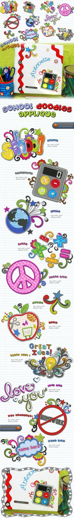 School Doodles 5X7 Embroidery Designs Free Embroidery Design Patterns Applique
