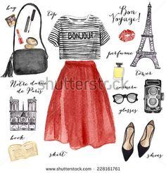 Watercolor fashion illustration. Paris style outfit.