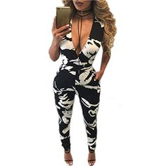 Xuan2Xuan3 Women Sleeveless V Neck Sexy Party Club Long Jumpsuit Rompers Bodysuit * You can get more details at
