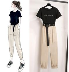 Classic Solid Color T-shirt +Pants Set – Orchidmet Kpop Fashion Outfits, Korean Outfits, 90s Fashion, Casual Outfits, Swag Fashion, Rock Outfits, Lolita Fashion, Fashion Jewelry, Fashion Drawing Dresses
