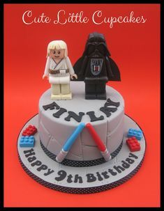 """6"""" Chocolate cake with Salted Caramel buttercream, decorated with a Lego Star Wars theme including a handmade fondant models of Luke Skywalker & Darth Vader... x"""