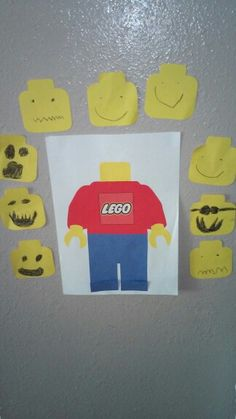 Pin the head on the minifigure game Birthday boy excitedly drew the faces himself, big hit at the party.