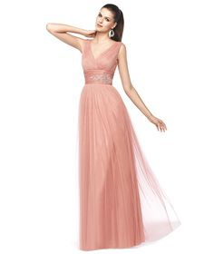 NIAMEY -Vestido de fiesta rosa corte en A. Pronovias 2015   Pronovias
