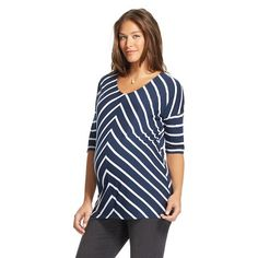 Maternity Angled Stripe Tee - Liz Lange® for Target - Dark Shadow Blue