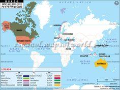 Mapa de Los Paises Mas Ricos del Mundo