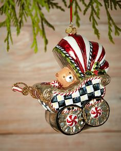 MACKENZIE-CHILDS Baby's First Pram Christmas Ornament $75 PICK UP OR SHIPS FREE (Compare elsewhere at $90)  agnellinos.com