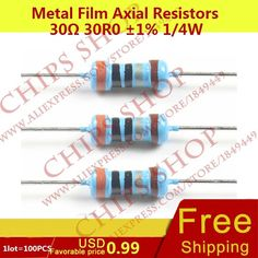 1LOT=100PCS Metal Film Axial Resistors 30ohm 30R0 1% 1/4W 0.25W Wattage1/4W electronic components china #Affiliate