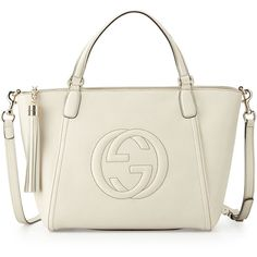 Gucci Soho Small Leather Top-Handle Bag (5.095 BRL) ❤ liked on Polyvore featuring bags, handbags, white, zip purse, embossed handbags, white purse, zipper bag and tassel purse