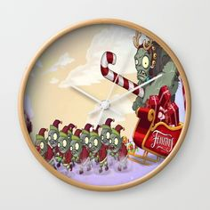 Zombie vs Plant Christmas Wall Clock