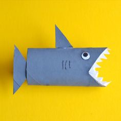 This shark toilet paper roll craft is the perfect kids' activity for shark week!