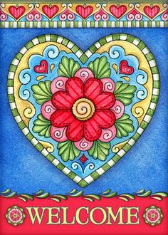 Zentangle, Welcome Pictures, Arte Country, Tole Painting, Heart Art, Whimsical Art, Doodle Art, Painted Rocks, Folk Art