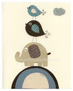 Baby boy room Nursery print Baby elephantBradley 2 by DesignByMaya, $17.00