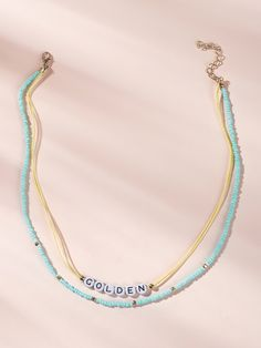 To find out about the Letter Decor Beaded Layered Necklace at SHEIN, part of our latest Necklaces ready to shop online today! Seed Bead Jewelry, Cute Jewelry, Beaded Jewelry, Jewelry Accessories, Handmade Jewelry, Women Jewelry, Beaded Bracelets, Jewellery, Diy Bracelets Easy