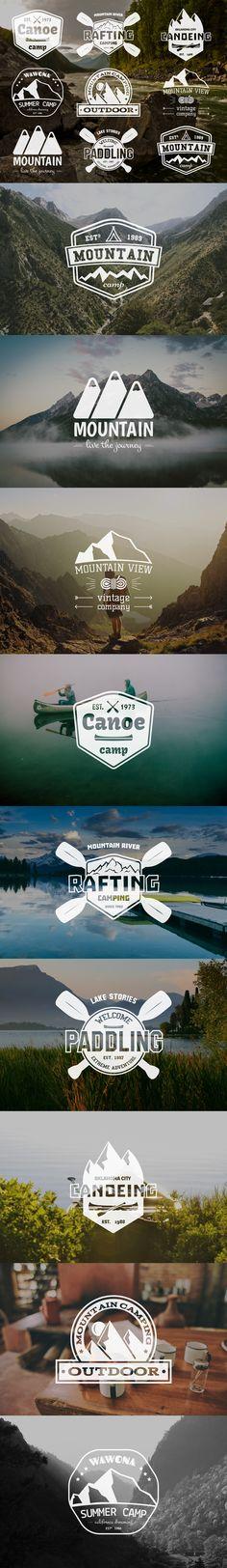 Set of Mountain and Kayaking Monochrome Logo Design. on Behance