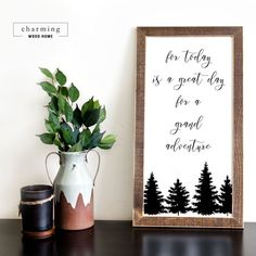 Shop our collection of adventure and wanderlust themed signs. This sign would make a perfect gift for an outdoor enthusiast to a new mom with a woodland nursery theme. Cute Signs, Diy Signs, Wall Signs, Painted Wood Signs, Wooden Signs, Farmhouse Wall Decor, Farmhouse Interior, French Farmhouse, Country Decor