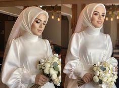 Bridal Hijab, Bridal Outfits, Hijab Bride, Classy Wedding Dress, Simple Wedding Gowns, Muslimah Wedding Dress, Muslim Wedding Dresses, Wedding Hijab Styles, Hijab Dress Party